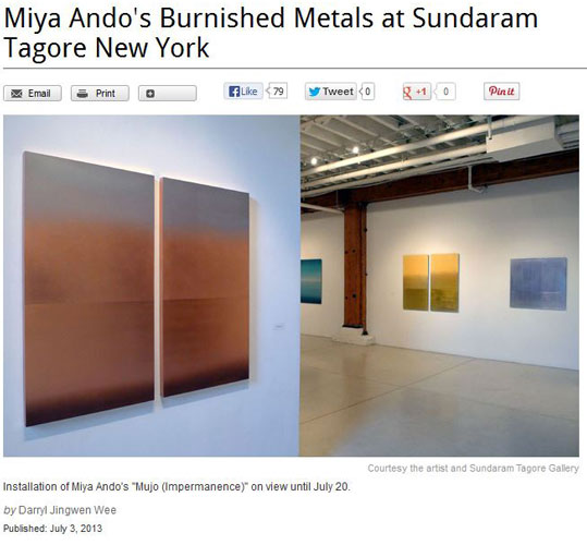 ando artinfo 1 Blouin ARTINFO   Miya Ando July 2013 press modern painters miya ando press misc press